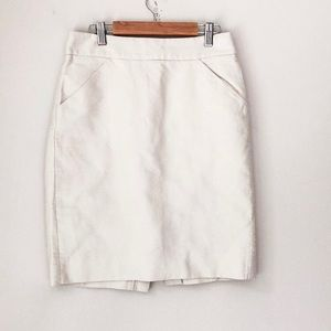 J. Crew White/Cream The Pencil Skirt Size 2